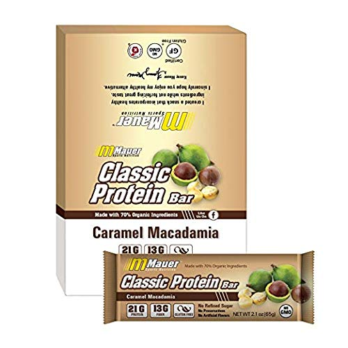 Mauer Sports Nutrition Classic Protein Bars, Caramel Macadamia, 12 Count