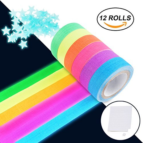 (UV Blacklight Reactive Tape Neon Gaffer Fluorescent Cloth Tape for Party Decoration (12)
