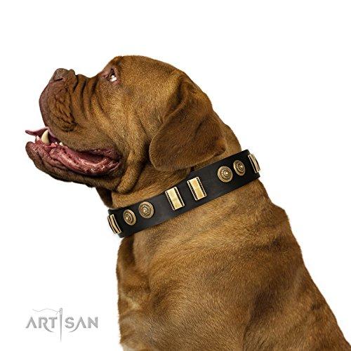 - FDT Artisan 30 inch Black Decorated Leather Dog Collar -