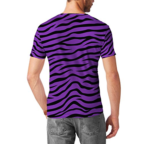 Zebra Print Bright Purple Mens Cotton Blend T-Shirt Herren