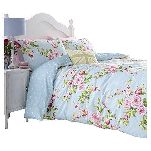 Housse Couette +Taies Fleur Bleu Rose Reversible Coton Shabby-Chic ...