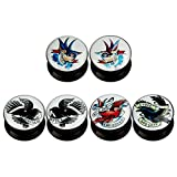 KUBOOZ(3 Pairs) Double-Bird Acrylic Ear Plugs Tunnels Gauges Stretcher Piercings