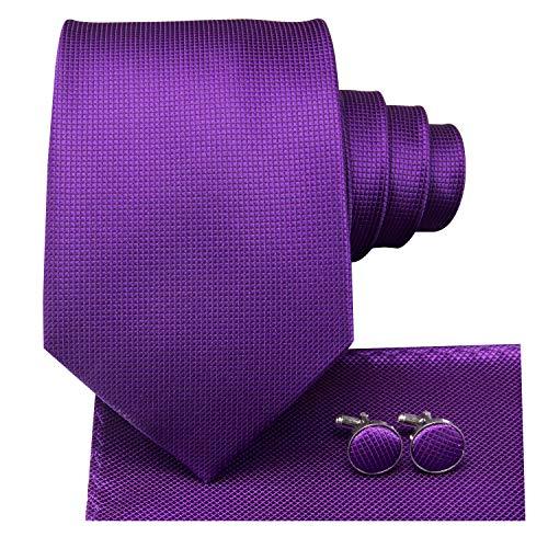 (Dubulle Mens Purple Tie and Hanky Woven Silk Necktie Set with Cufflinks)