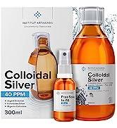Argent Colloïdal 300 ml - 40 PPM 100% Naturel - Bouchon Doseur & Spray 30ml à Remplir - Certifié ...