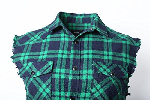 Senza Soopo Vari Blu Per Verde Maniche Abbastanza Comoda A Quadri Motivo Scuro Taglie E Con L'estate Camicia Uomo Colori tqqCR