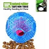 Noyal Interactive Dog Toy - IQ Treat Ball Food Dispensing Toys Durable Chew Ball - Nontoxic Rubber and Bouncy Dog Ball Puppy Foraging Toy (blue)