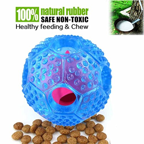 Noyal Interactive Dog Toy - IQ Treat Ball Food Dispensing Toys Durable Chew Ball - Nontoxic Rubber and Bouncy Dog Ball Puppy Foraging Toy (Blue) ()