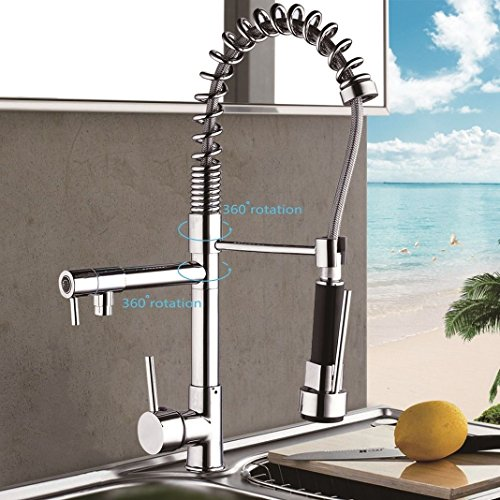 US Distinct Handle Kitchen Sink Faucet Polish Chrome Pull Out Spray Mixer Tap