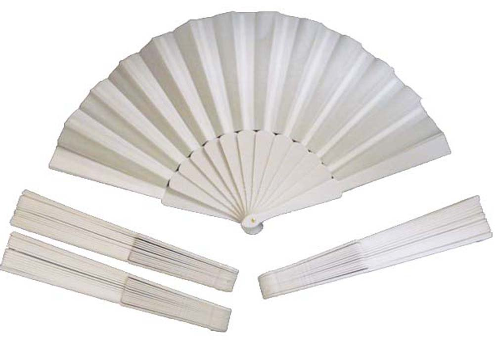 White Cloth Folding Fans for Dance or Purse, pack of 4
