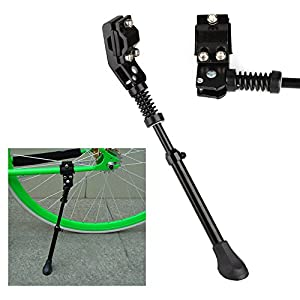 """Flexzion Bike Kickstand Bicycle Road Mountain Cycling Rear Mount Side Stand Aluminum Adjustable Alloy Replacement Fits for 26"""" Tires in Black"""