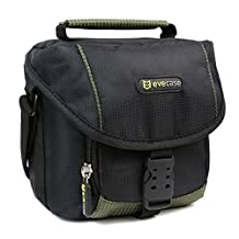 Evecase Universal Compact Camera Case for Canon PowerShot SX530 HS, SX60 HS, SX520 HS, SX400 IS, SX510 HS, SX500 IS, SX170 IS, SX50 HS, SX40 HS, SX30 IS, EOS M Digital Camera (Black Green)