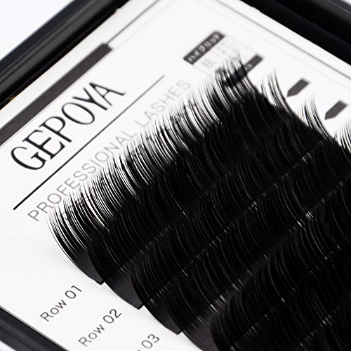 Ellipse Eyelash Extensions GEPOYA Platinum Flat Lashes Double Top Ends Mind Lash 0.10 Thickness C Curl - False Eyelash Semi-Permanent Individual Eyelashes - Professional Salon Use (Mixed(9-12mm))