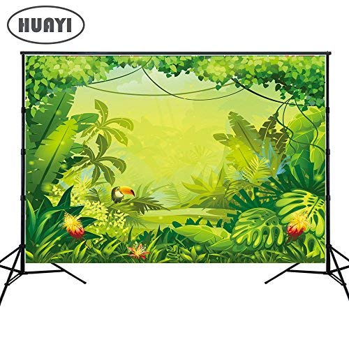 HUAYI 7x5ft Jungle safari backdrop kids Photography Backdrops happy birthday dessert table background Banner birthday floral Baby shower Party decoration Xt-6713 ()