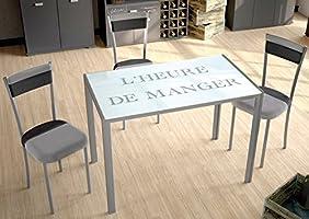 Suarez CICA Mesa de Cocina, Vidrio, Metal, Plata, 105x60x75cm ...