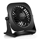 quiet mini desk fan - OPOLAR 4 Inch Mini USB Desk Fan, 2 Speeds, Lower Noise, USB Powered, 360° Up and Down, 3.8 ft Cable, Powerful Black Fan for Home and Office