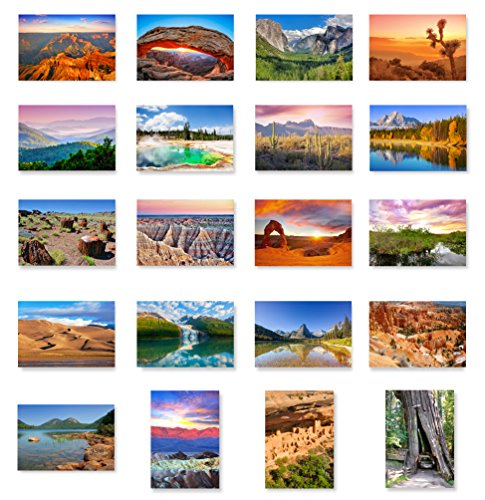 - US NATIONAL PARKS postcard set of 20. Post card variety pack depicting American national parks postcards. Made in USA.