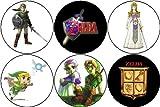 Set of 6 Legend of Zelda Pinback Buttons Pins