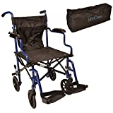 Elite Care Super Lightweight Folding Transport Travel Wheelchair in a Bag ECTR05 with Height Adjustable footrests