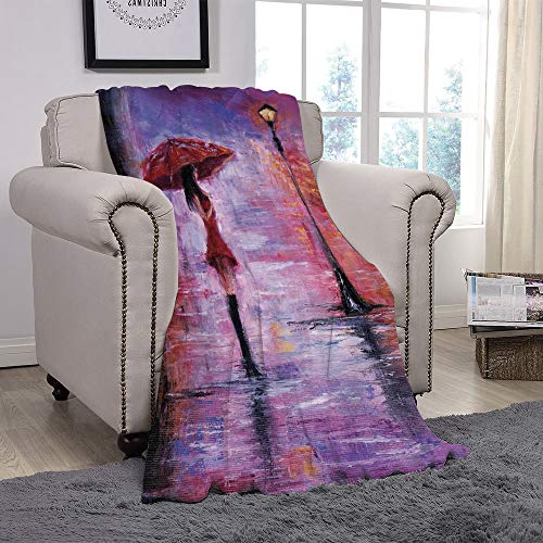 YOLIYANA Light Weight Fleece Throw Blanket/Urban,Oil Painting Style View Young Woman with Umbrella on Street Rainy Night,Lavender Red and Coral/for Couch Bed Sofa for Adults Teen Girls Boys