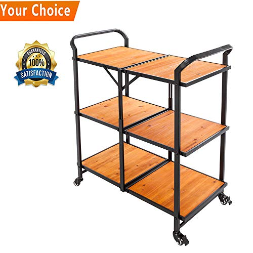 - Cosway Foldable Iron & Wood Multi-Function Cart Mobile Restaurant with Wheels Kicthen Bar Dining Room Tea Wine Holder Serving Cart Trolley [US Stock]