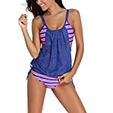BellyAnna 2pcs Womens Stripes Lined Up Double Up Tankini Top Bikini Swimwear