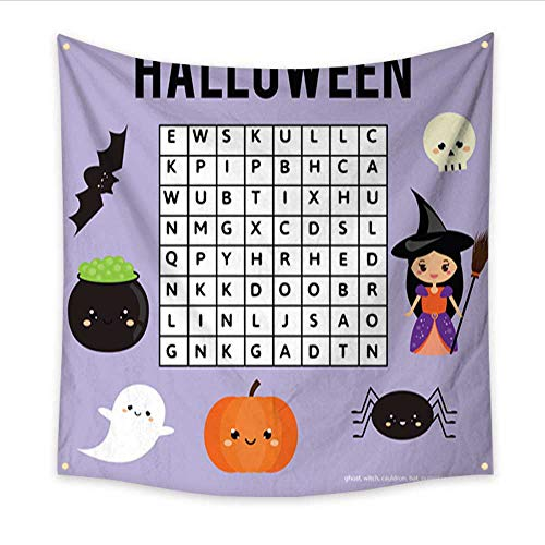 Anniutwo Tapestry Colorful Word Search Puzzle for Children Educational Game Halloween Theme Bedspread Dorm Accessories Decor 47W x 47L -