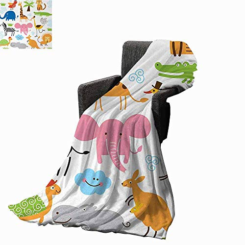 Animal Faux Fur Throw Blanket,Cute Set of Giraffe Elephant Zebra Turtle Kids Nursery Baby Themed Cartoon Comic Print Reversible Soft Fabric for Couch Sofa Easy Care (80