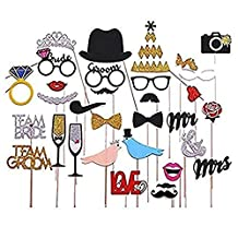 31pcs Fashion Bling Colorful Photo Booth Props Panel Hen Party Fun Accessories Wedding Baby Christmas Birthday Anniversary Newborn Party Shower Decor Mustache Crown Ring Kiss Mouths