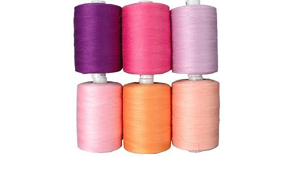 Threadart - Juego de Hilos de algodón (6 Tonos Pastel, 1000 m, 50 ...