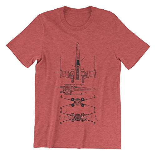 Inked and Screened X-Wing Patent Star Wars Screen Print (Heather Red, Small)