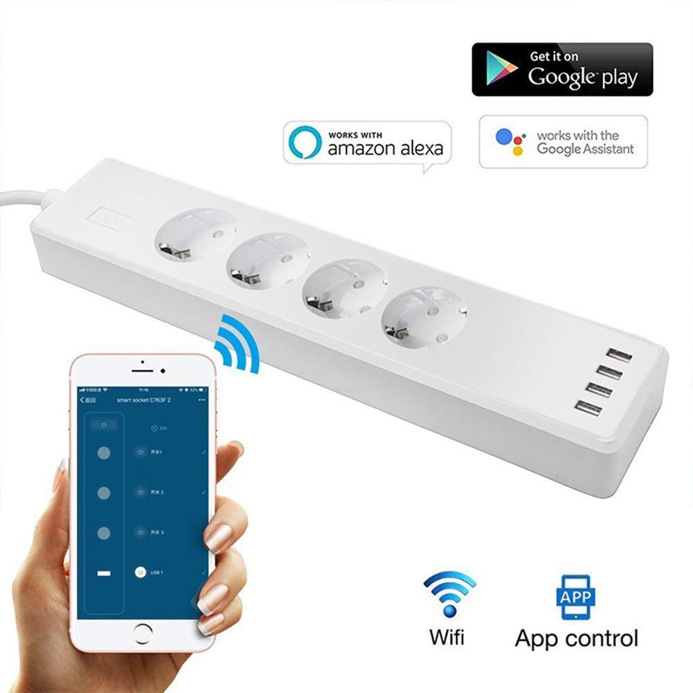 5V//2.4A Ancoree Wifi Striscia di potenza intelligente,Limitatore di sovratensione con 4 uscite e 4 USB ricarica Ports ,1.8 M Heavy Duty cavo di prolunga,Opere con Alexa Echo Dot e Google Home