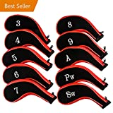 Golf Club Headcovers, Aeola Zipper headcovers for golf clubs iron covers with Interchangeable Number Tag, Red - 10Pcs