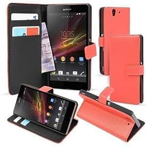 MadCase - Funda Tipo Cartera de Cuero Sintético Rojo con Soporte para Sony Xperia Z
