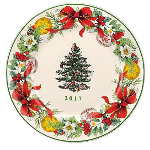 Spode Christmas-Tree 2017 Annual Edition Christmas-Plate; White, Green and Red
