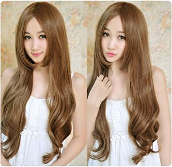 Girls sweet lovely paragraph wig fluffy long hair curly wig cap peluca peruca cosplay Synthetic hair