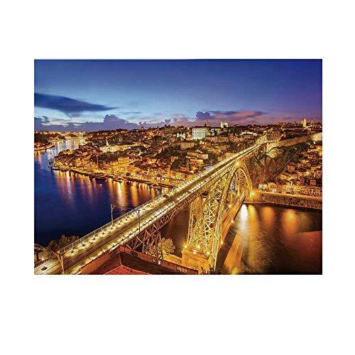 (City Photography Background,Porto Dom Luis Bridge at Night River Portuguese Coast Mediterranean View Decorative Backdrop for Studio,20x10ft)