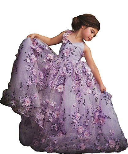 Newdeve Girls Princess Gown 3D Flower Baby Toddler Flower Girls Dress (12, Purple) by New Deve