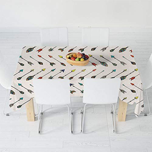 No Fading Tablecloth,Arrow Decor,for Table Outdoor Picnic Holiday Dinner,54.3 X 36.2 Inch,Arrows Bright Colored Arrowheads Arrowtails Pattern Decorative ()
