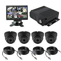 TrackSec 4 Channel AHD 720P H.264 Mobile DVR Recorder Car Black Box Kit, Black (VTK161S)