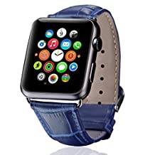 Apple Watch Band,iitee Genuine Crocodile Grain Leather Band for Apple Watch Buckle Metal Clasp Strap (38mm navy blue)