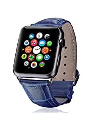 Apple Watch Band,iitee Genuine Crocodile Grain Leather Band for Apple Watch Buckle Metal Clasp Strap (42mm navy blue)