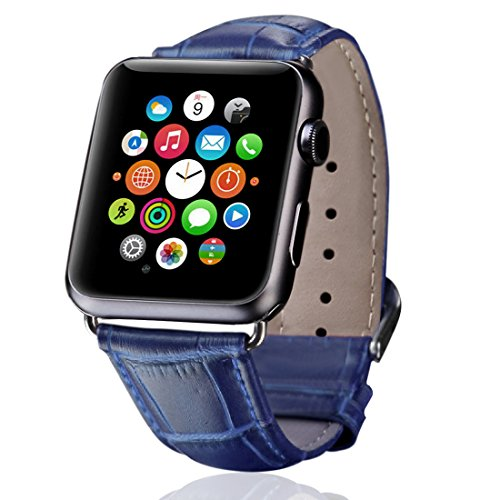 Genuine Crocodile Band (Apple Watch Band, iitee{TM} Premium Genuine Leather Crocodile Pattern Replacement Strap for Apple Watch All Models (38mm Navy Blue))