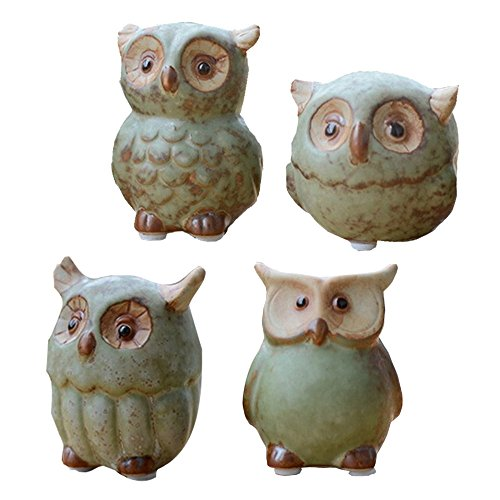 WOMHOPE 4 Pcs   Mini House Warming Gift Wise Owls Figurine Tabletop Shelf  Ceramic Wise Home Decorative Collectible Figurine Statues (Green)