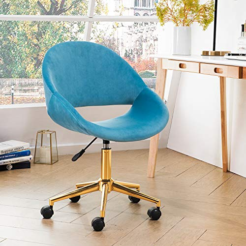 OVIOS Cute Desk Chair,Plush Velvet Office Chair for Home or Office,Modern,Comfortble,Nice Task Chair for Computer Desk. (Golden-Sky Blue)