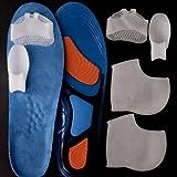 Men's Work Boot & Shoe Insert [Large] (1 Set) + Toe corrector (1 Set) + Forefoot Pad (1 Set) + Silicone Heel (1 Set) - Large (Sizes 9 to 10.5) - Orange / Blue