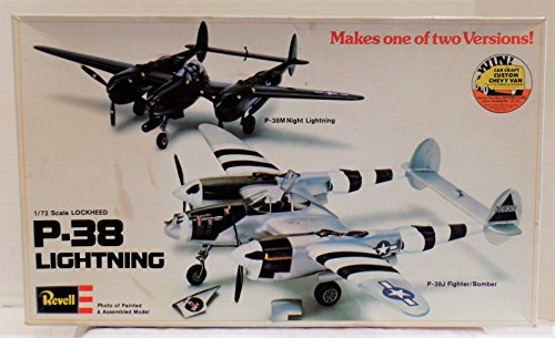 VINTAGE P-38 LIGHTENING 1/72 SCALE MODEL KIT - MAKES EITHER P-38M KNIGHT LIGHTENING OR P-38J FIGHTER BOMBER - MADE BY REVELL IN 1976 MODEL NO.H-220 (FREE SHIPPING) (P-38 Lightening)
