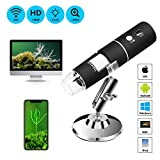 WiFi USB Microscope, TSAAGAN Portable Wireless WiFi Digital Microscope Camera with 1080P HD 2MP 50x to 1000x Magnification Endoscope for Android, iOS, Smartphone, Tablet, Widows, iPad, Mac PC