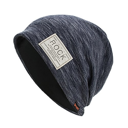 NRUTUP Knit Hats Unisex, Autumn and Winter Pullover Cap Multifunction Slouchy Beanie for Jogging, Cycling.(Navy,Free Size) -