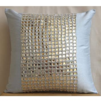 Amazon Luxury Light Blue Cushion Covers Modern Throw Pillows New Rhinestone Decorative Pillows