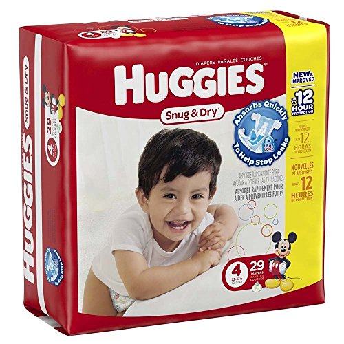 Huggies Baby Diapers, Snug & Dry, Size 4 (22 - 37 lbs) 29ct